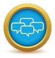 Gold big dialog icon vector image