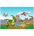 Collection dinosaur in the jungle vector image
