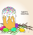 Easter cake eggs and branch of pussy willow vector image