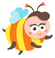 cute bee cartoon flying isolated vector image