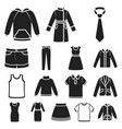 different kinds of clothes black icons in set vector image