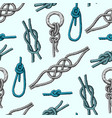 Different sea boat knots types noose rope vector image