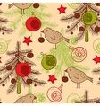 seamless pattern with birds and Christmas tree vector image