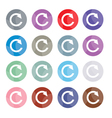 Set of 16 Reset Icons or Reload Buttons vector image