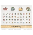 Shopping hand drawing line icons doodle vector image