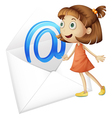 a girl and mail envelop vector image vector image