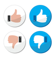 Thumb up and down like icon set vector image