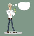 man thinks where to spend money vector image