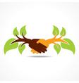 businessman handshake background with leaf vector image vector image