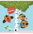 Greeting card with birds and tree vector image vector image