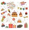 Birthday party icons vector image