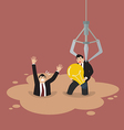 Robotic claw picking a businessman who has an idea vector image