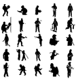 Firefighter silhouettes set vector image