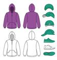 Unisex hoodie cap sneakers set vector image vector image