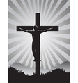 Christian cross on Sunburst background vector image