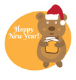 Cute cartoon bear in Santa Claus hat vector image