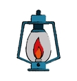drawing lamp kerosene old lantern camping vector image