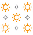 Set of hand-drawn simple sun icons collection of vector image