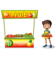 A young boy selling fruits Vector Image