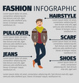 fashion infographic with young artist man vector image