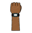 hand with wristle watch isolated icon vector image