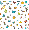 Seamless summer pattern with hand drawn beach vector image