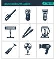 Set modern icons Household Appliances hair vector image