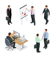 Business man isometric set Businessman isolated vector image