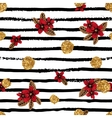 Seamless pattern with flowers stripes and golden vector image