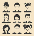 set of different male and female children vector image