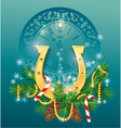christmas and new year background with golden hors vector image