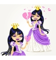 Crying gothic princess with a broken heart vector image