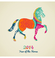 2014 Year of the Horse greeting card vector image