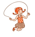 Girl jumps with rope vector image