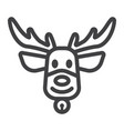 christmas deer line icon new year and christmas vector image