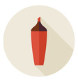 Flat Highlighter Marker Circle Icon with Long vector image