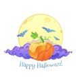 Violet clouds yellow moon and blue bats vector image