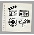 black movie icon doodle set vector image vector image