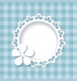 floral frame on the blue pattern vector image vector image