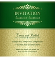 Baroque invitation gold and green vector image