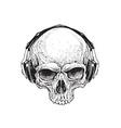 Skull with Headphones vector image vector image