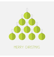 Christmas ball set in shape of triangle fir tree vector image