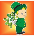 boy in a dress with bouquet of Irish clover vector image