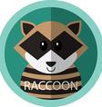 Cute racoon cartoon flat icon avatar round circle vector image