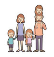 light color caricature thick contour family group vector image