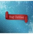 Realistic curved red Christmas Ribbon on Ice vector image