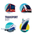 set of round emblems with bus train plane ship vector image