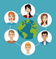 worldwide people communication social media vector image
