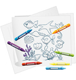 The sea world in a piece of paper vector image vector image