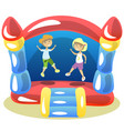 children are jumping on a trampoline vector image